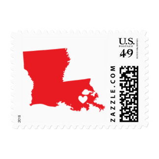 Love from New Orleans, LA in Red Postage Stamp