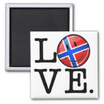 Love From Norway Smiling Flag 2 Inch Square Magnet