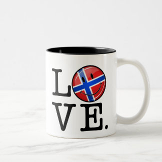 Love From Norway Smiling Flag Two-Tone Coffee Mug