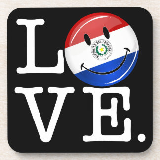 Love From Paraguay Smiling Flag Beverage Coaster