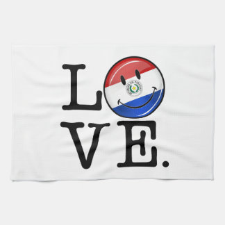 Love From Paraguay Smiling Flag Hand Towel