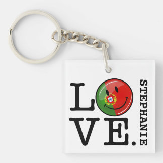Love From Portugal Smiling Flag Keychain
