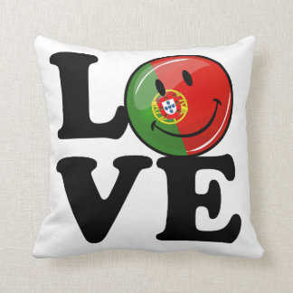 Love From Portugal Smiling Flag Throw Pillow