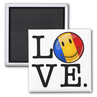 Love From Romania Smiling Flag Magnet