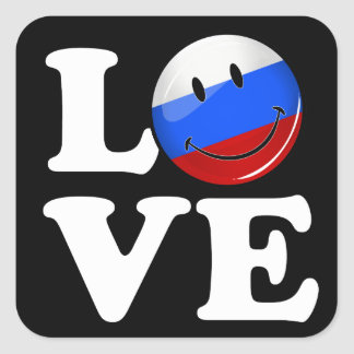 Love From Russia Smiling Flag Square Sticker