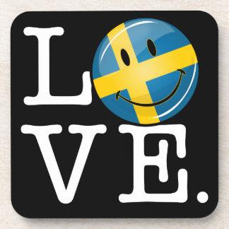 Love From Sweden Smiling Flag Coaster