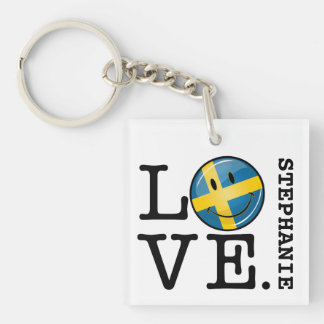 Love From Sweden Smiling Flag Keychain