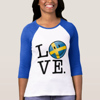 Love From Sweden Smiling Flag Tee Shirt