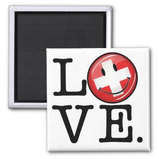 Love From Switzerland Smiling Flag Magnet