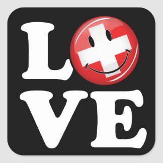 Love From Switzerland Smiling Flag Square Sticker