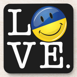 Love From the Ukraine Smiling Flag Drink Coaster