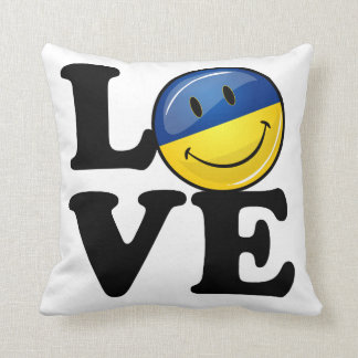Love From the Ukraine Smiling Flag Throw Pillow