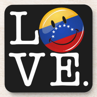 Love From Venezuela Smiling Flag Beverage Coaster