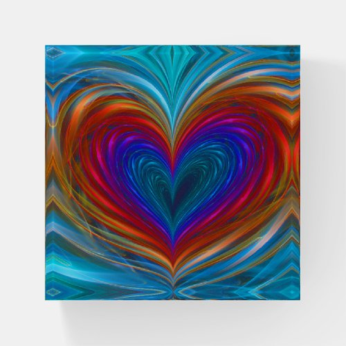 Love Full Of Color Fractal  Paperweight