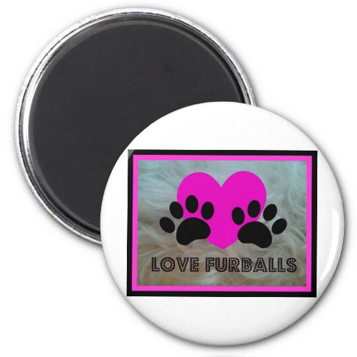LOVE FURBALLS PAWS AND HEART PRINT FRIDGE MAGNETS