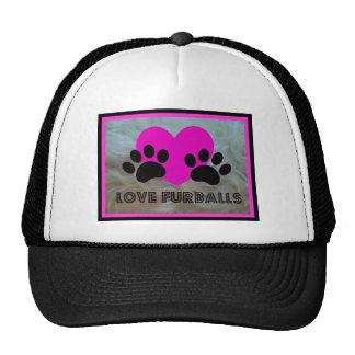 LOVE FURBALLS PAWS AND HEART PRINT TRUCKER HAT