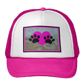 LOVE FURBALLS PINK HEART AND PAWS ON FUR TRUCKER HAT