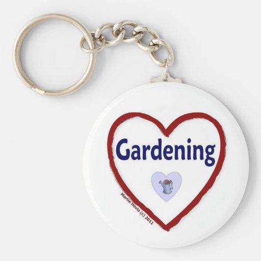 Love Gardening Basic Round Button Keychain