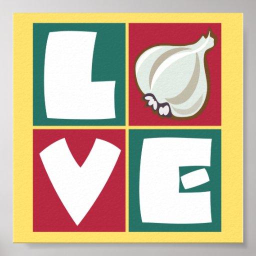 Love garlic retro kitchen art poster zazzle for Kitchen artwork