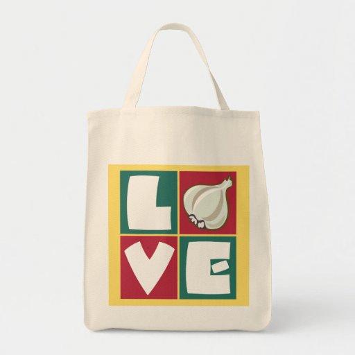 Love Garlic retro kitchen art Tote Bag