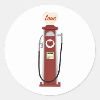 Love Gas Pump Classic Round Sticker