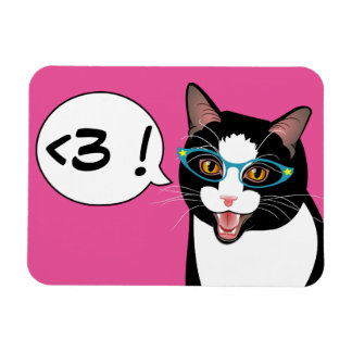 LOVE Geek Cat Hipster Tuxedo Personalize magnet