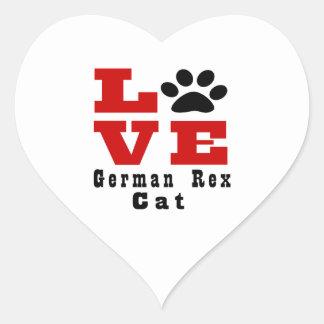 Love German Rex Cat Designes Heart Sticker