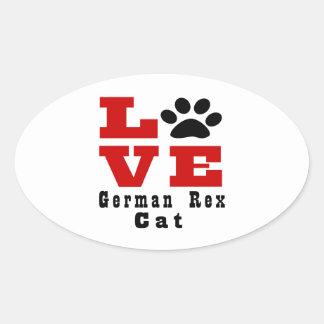 Love German Rex Cat Designes Oval Sticker