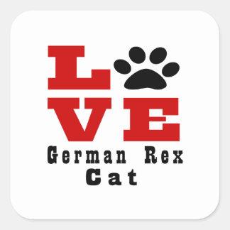 Love German Rex Cat Designes Square Sticker