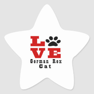 Love German Rex Cat Designes Star Sticker
