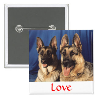 Love German Shepherd Dog Button Pin