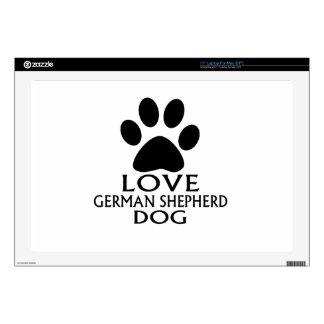 "LOVE GERMAN SHEPHERD DOG DESIGNS DECALS FOR 17"" LAPTOPS"