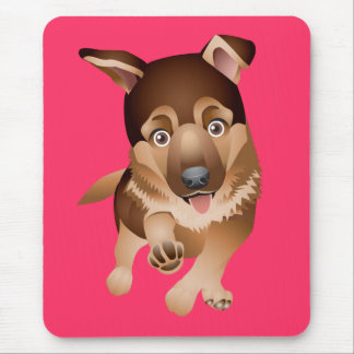 Love German Shepherd Puppy Dog Pink Mousepad