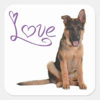 Love German Shepherd Puppy Dog Stickers