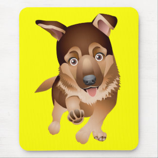 Love German Shepherd Puppy Dog Yellow Mousepad