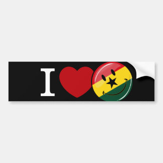 Love Ghana Smiling Ghanian Flag Bumper Sticker