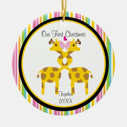 Love Giraffe Couple Christmas Ornament