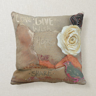 Love, Give, Hope, Share Mixed Media Throw Pillow