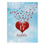 Love Gives Me Wings Wedding Table Number Card Post Card