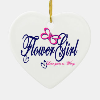 Love Gives us Wings Double-Sided Heart Ceramic Christmas Ornament