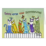 Love Gives you Butterflies-Cats on Fence Greeting Card