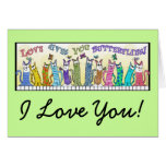 Love Gives you Butterflies- Cats on Fence Greeting Card