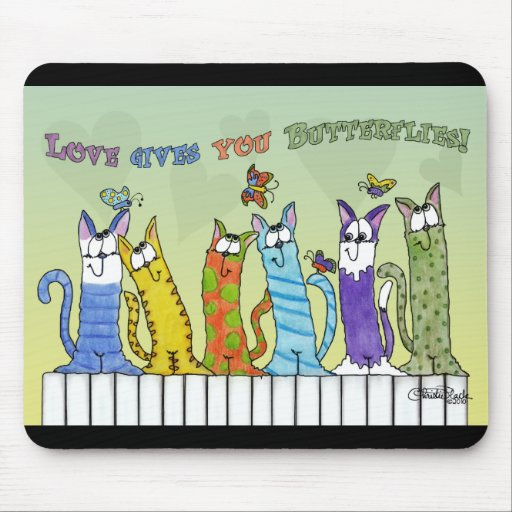 Love Gives you Butterflies-Cats on Fence Mouse Pad