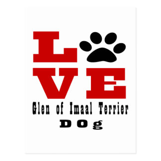 Love Glen of Imaal Terrier Dog Designes Postcard