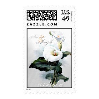 Love Glistens/Elegant White Calla Lily Wedding Stamp
