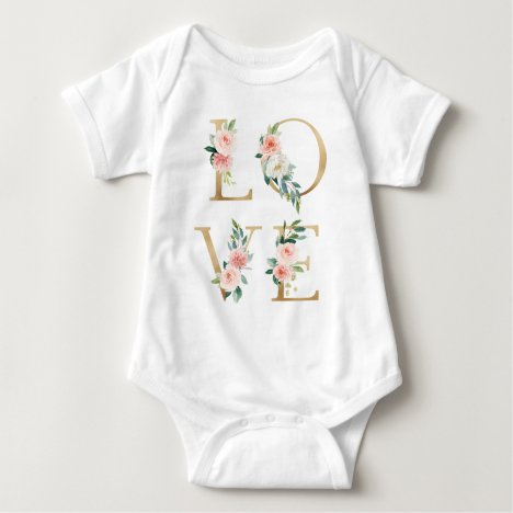 LOVE  gold and blush floral alphabetical Baby Bodysuit