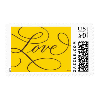 Love . Gold Chocolate Calligraphy Postage