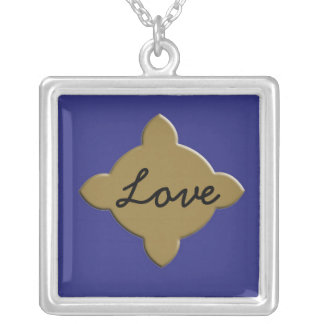 'Love' Gold Cross Silver Necklace