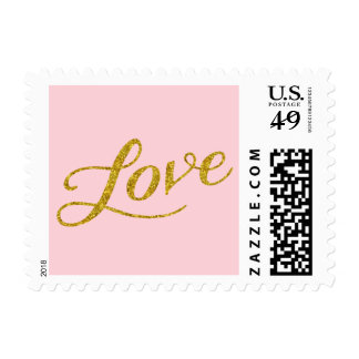 Love Gold Faux Glitter Metallic Inspirational Pink Postage