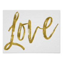 Love Gold Foil and White Inspirational Word Poster